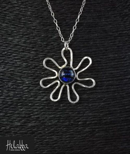 Kaulakoru lasista Helakka kukka sininen