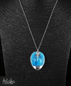 Kaulakoru hopealusikasta sininen