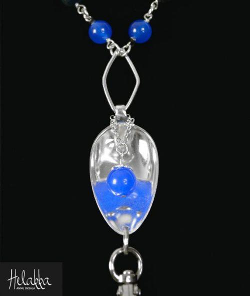 Helakka avainnauha avainkoru hopealusikoista sininen jade
