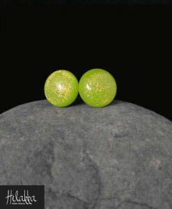 teräskorvakorut lasista Helakka vihreäkeltainen